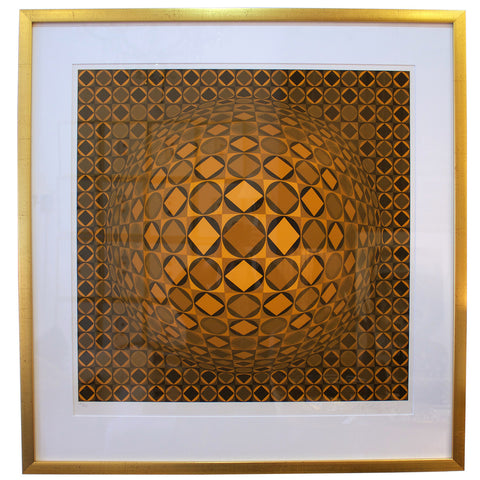 Framed Victor Vasarely Optical Art Lithograph