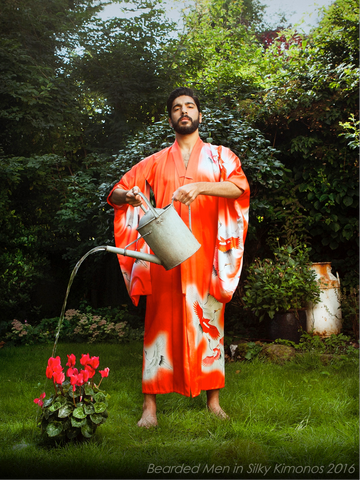 Bearded Man in Silky Kimono with watering can