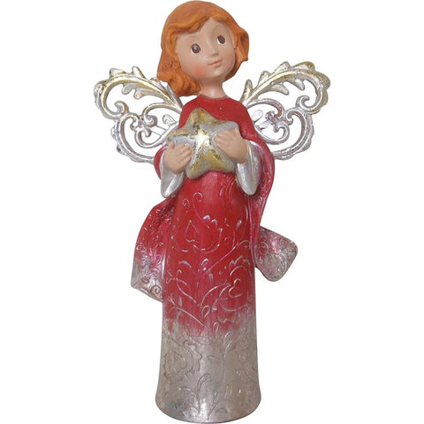 RED CHRISTMAS ANGEL 'STAR' DECORATION
