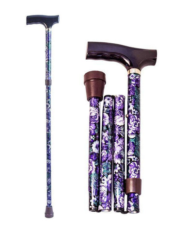 Folding aluminium cane with floral pattern
