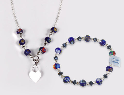 Murano Glass Necklace and Bracelet Set - Mia