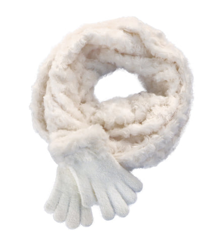 Eternity scarf and gloves -  Ivory