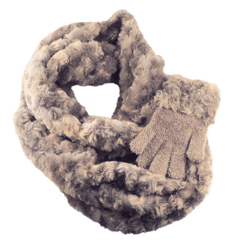 Eternity scarf and gloves - Taupe