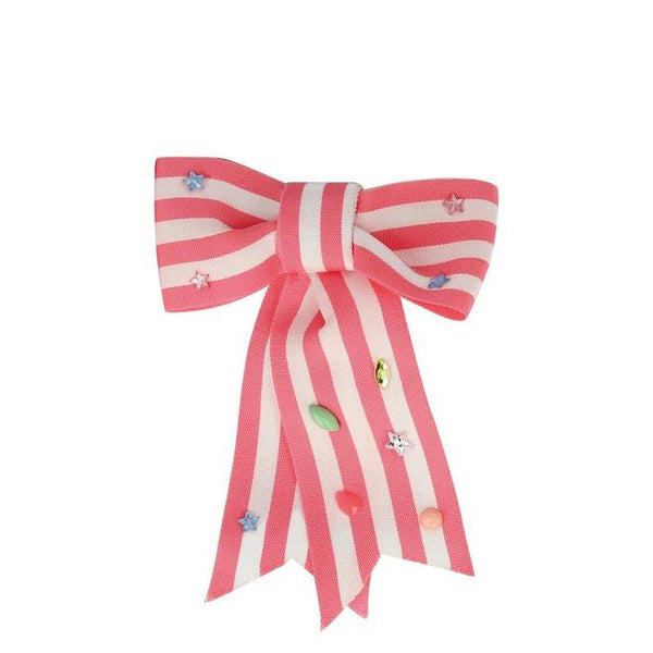 Pink Stripe Hair Bow Clip