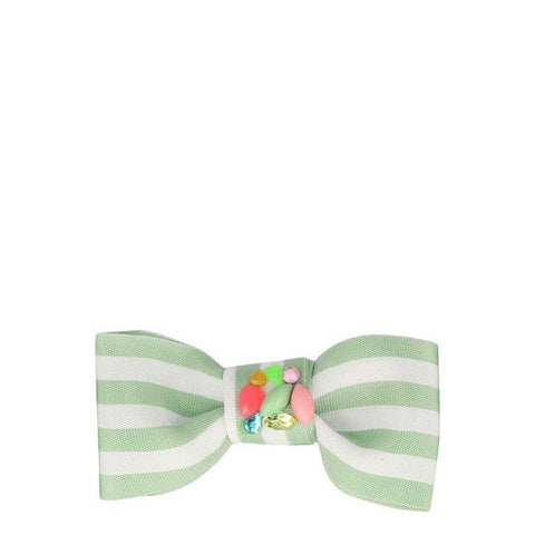 Blue Stripe Hair Bow Clip