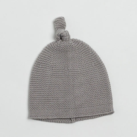 Zestt Cozy Top Knot Baby Hat Gray