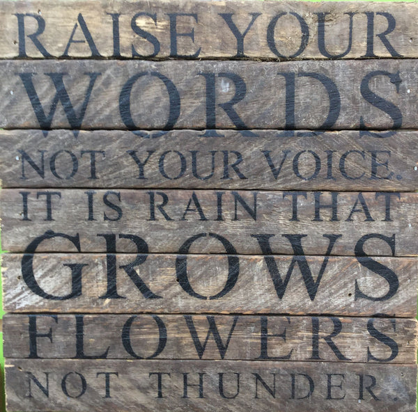 Raise Your Words Wood Wall Plaque