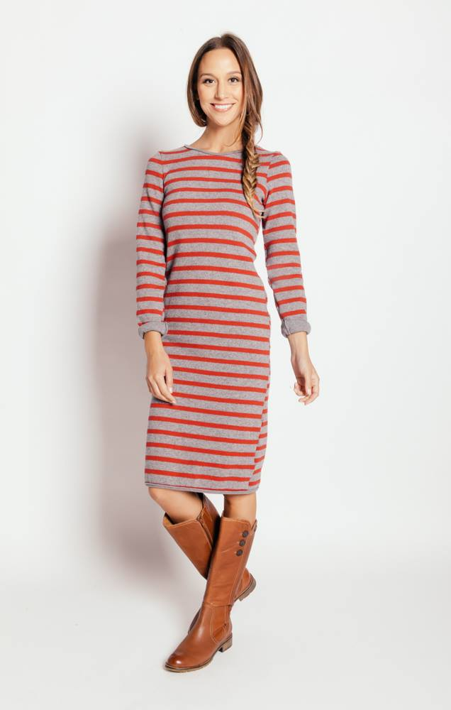 Italian Wool / Cotton Blend Stripe Dress