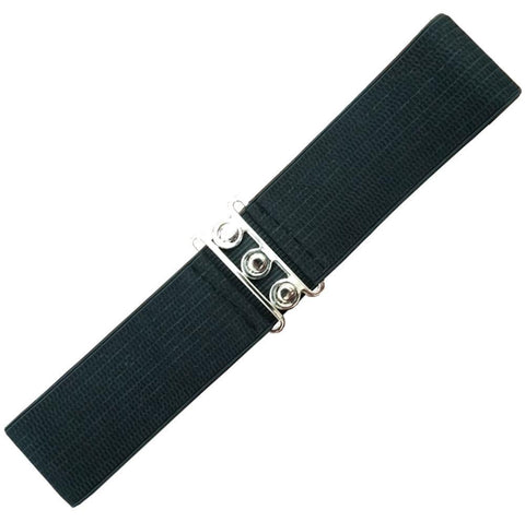 Dancing Days 50s Vintage Elasticated Stretch Black Belt - Cherry Red Vintage
