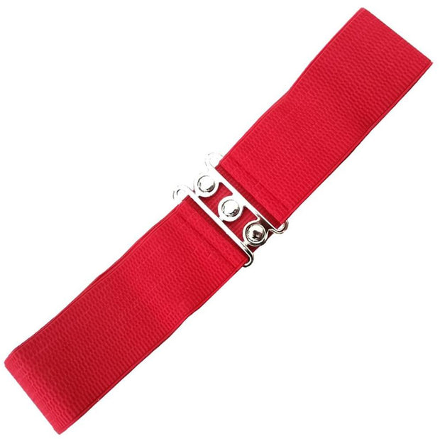 Dancing Days 50s Vintage Elasticated Stretch Belt (Red) - Cherry Red Vintage