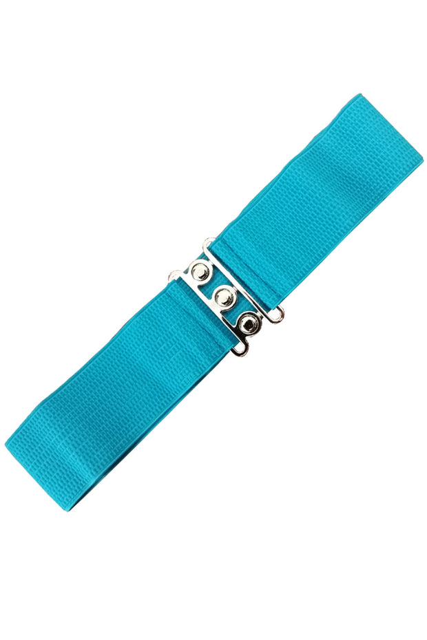 Dancing Days 50s Vintage Elasticated Stretch Belt (Teal) - Cherry Red Vintage
