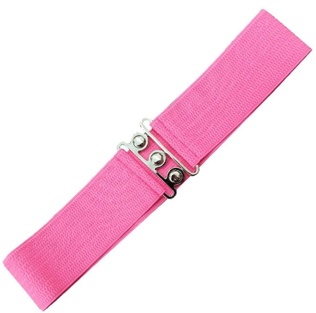 Dancing Days 50s Vintage Elasticated Stretch Belt (Hot Pink) - Cherry Red Vintage
