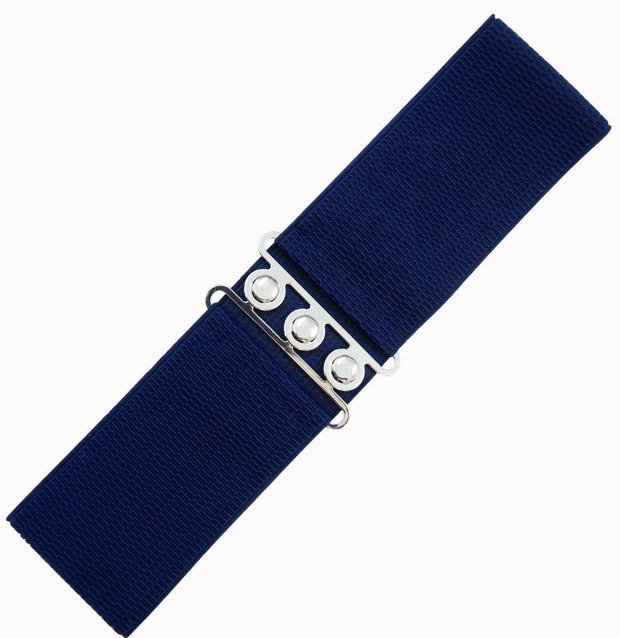 Dancing Days 50s Vintage Elasticated Stretch Belt (Navy) - Cherry Red Vintage
