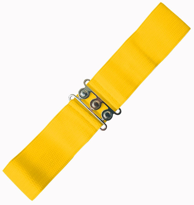 Dancing Days 50s Vintage Elasticated Stretch Belt (Yellow) - Cherry Red Vintage