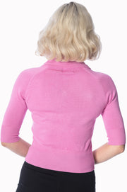 Banned Retro 40s 50s April Pink Short Sleeve Cardigan *