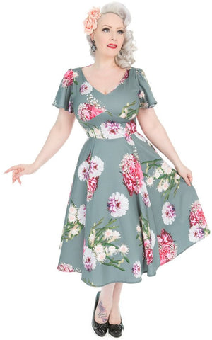 Hearts & Roses Lamour 40s 50s Green Floral Swing Dress