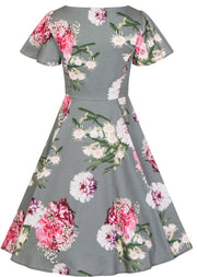 Hearts & Roses Lamour 40s 50s Green Floral Swing Dress - Cherry Red Vintage