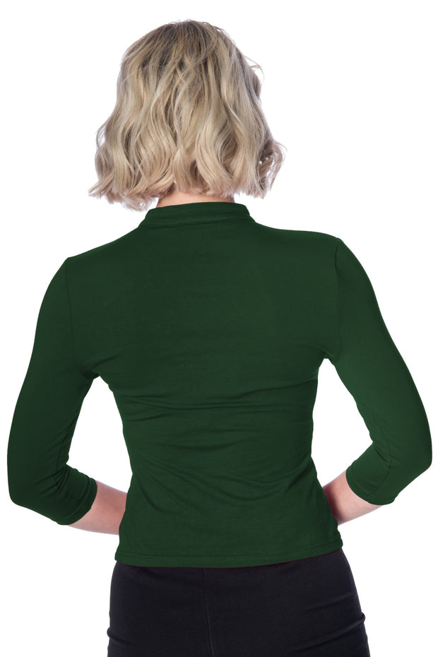 Banned Retro Emily Peek A Boo Dark Green Mandarin Collar Top *