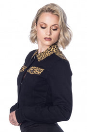 Banned Retro 50s Rock N Roll Leopard Black Denim Jacket *