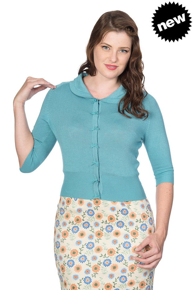 Banned Retro 40s 50s April Blue Short Sleeve Cardigan *