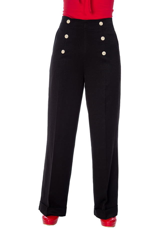 Banned Retro 40s Nautical Adventures Ahead Button Black Trousers *