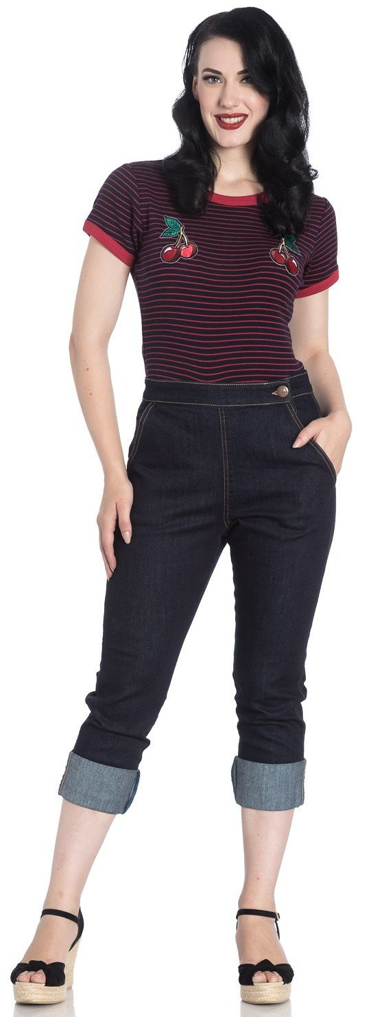 Hell Bunny Navy Charlie Denim Capris Jeans - Cherry Red Vintage
