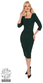 Hearts and Roses 50s Dark Green Verde Pencil Dress
