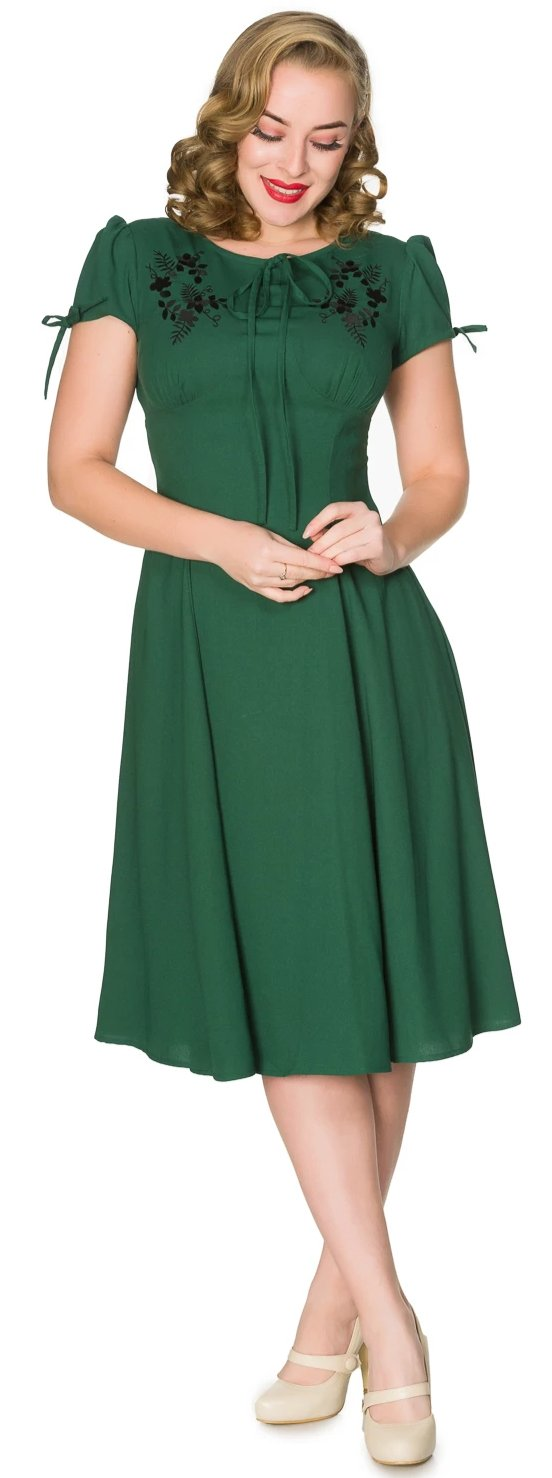 Sheen Ava 1940s WW11 Style Green Tea Dress - Cherry Red Vintage