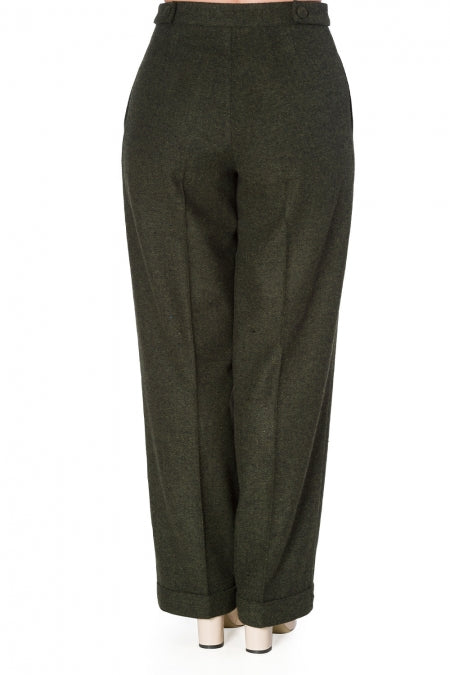 Banned 40s Green Tweed Herringbone Office Trousers