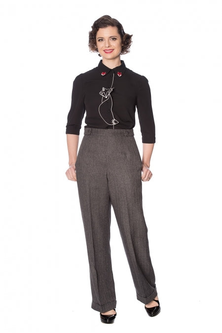Banned 40s Black Herringbone Button Swing Trousers