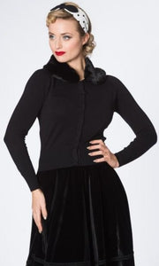 Banned Retro 40s 50s Bow Black Faux Fur Collar Cardigan *