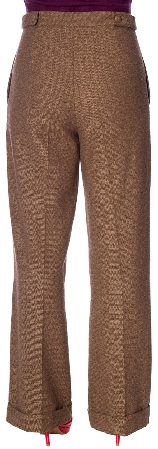 Banned 40s Brown Herringbone Button Swing Trousers
