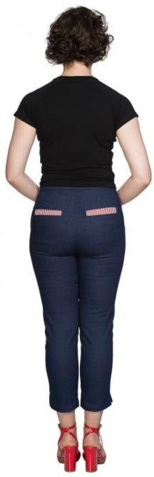 Banned Retro Diner Days Navy Blue Capri Summer Trousers *