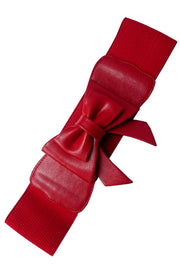 Banned Retro Play it Right Red Stretch Elastic Bow Belt