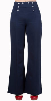 Banned 40s 50s Navy Blue Nautical Lindy Bop Stay Awhile Trousers - Cherry Red Vintage