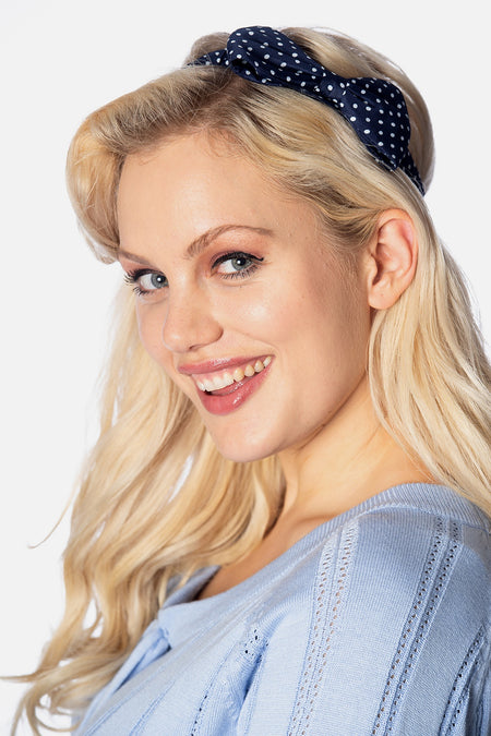 Banned 50's Style Dionne Navy and White Bow Headband - Cherry Red Vintage