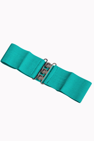 Dancing Days 50s Vintage Elasticated Stretch Belt (Aqua) - Cherry Red Vintage