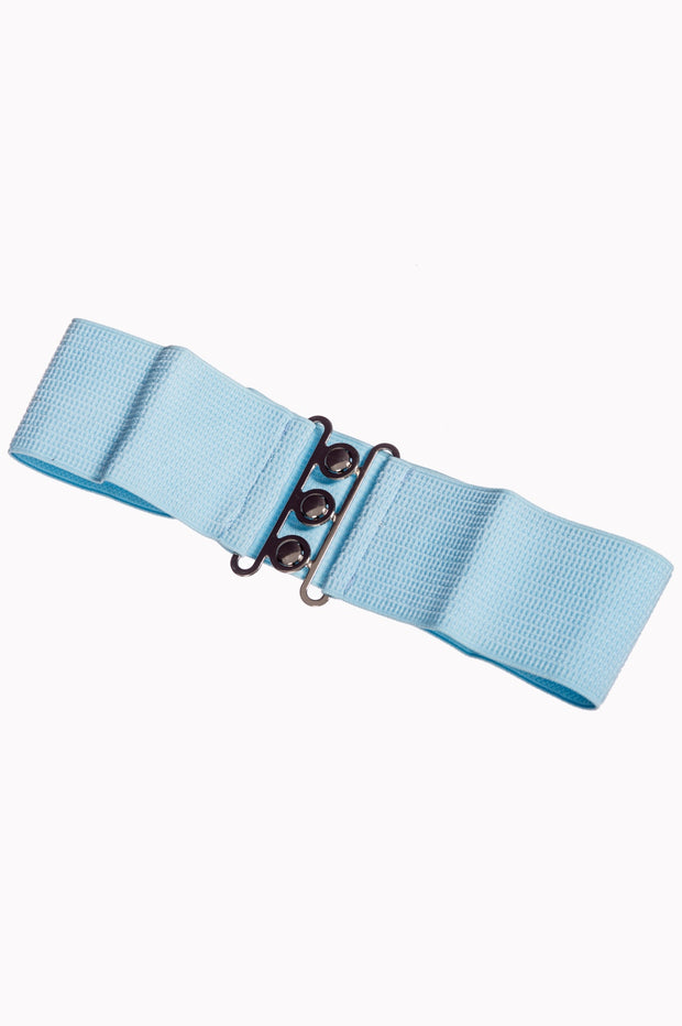 Dancing Days 50s Vintage Elasticated Stretch Belt (Baby Blue) - Cherry Red Vintage