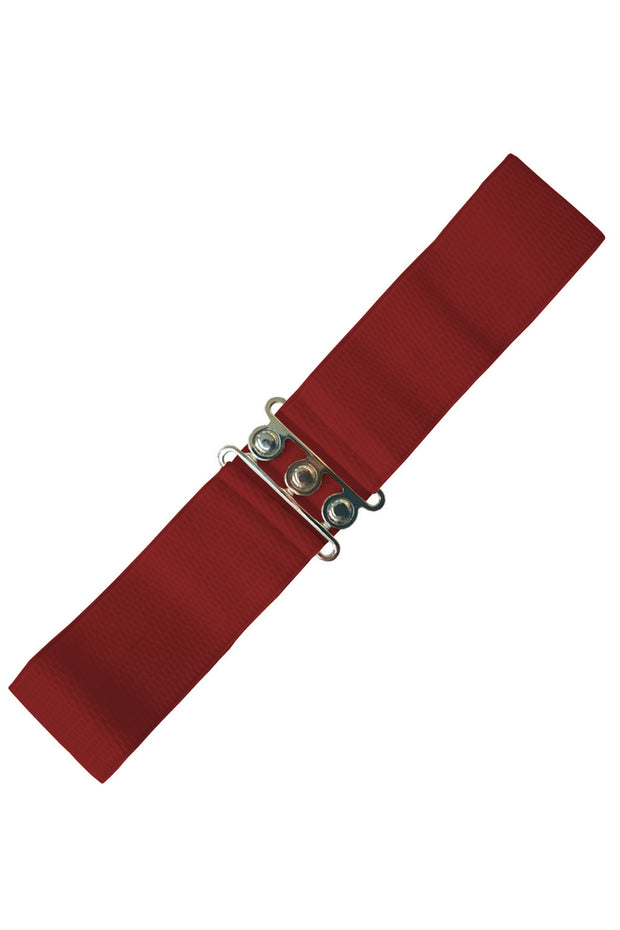 Dancing Days 50s Vintage Elasticated Stretch Belt (Burgundy) - Cherry Red Vintage