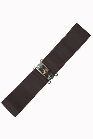 Dancing Days 50s Vintage Elasticated Stretch Belt (Dark Brown) - Cherry Red Vintage