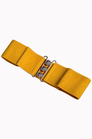 Dancing Days 50s Vintage Elasticated Stretch Belt (Mustard) - Cherry Red Vintage