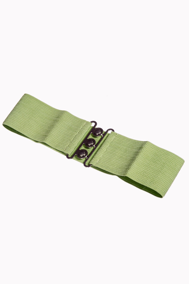 Dancing Days 50s Vintage Elasticated Stretch Belt (Olive) - Cherry Red Vintage