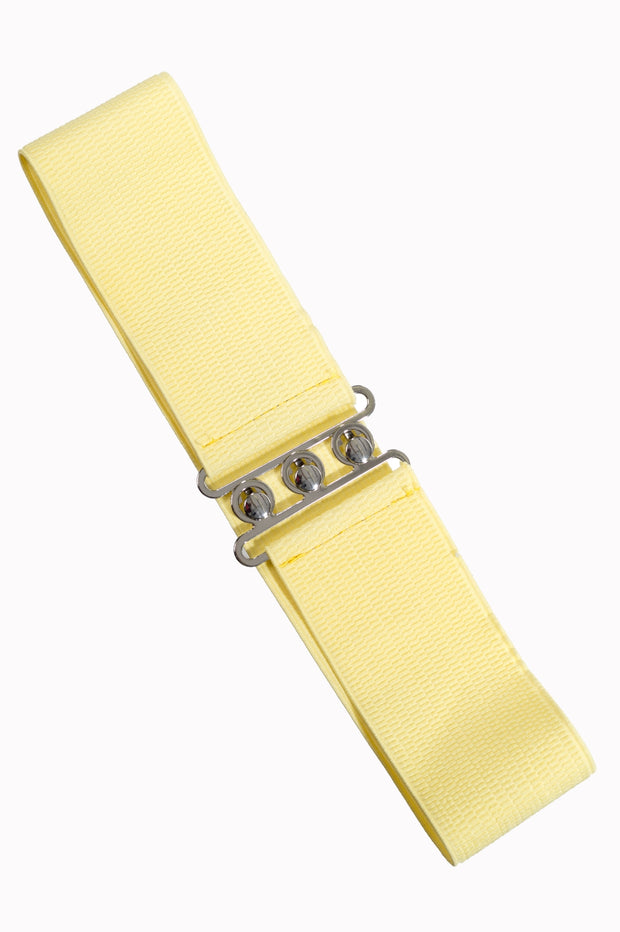Dancing Days 50s Vintage Elasticated Stretch Belt (Pale Yellow) - Cherry Red Vintage