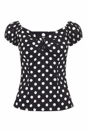 Collectif Dolores 50s Style Black and White Polka Dot Gypsy Top - Cherry Red Vintage
