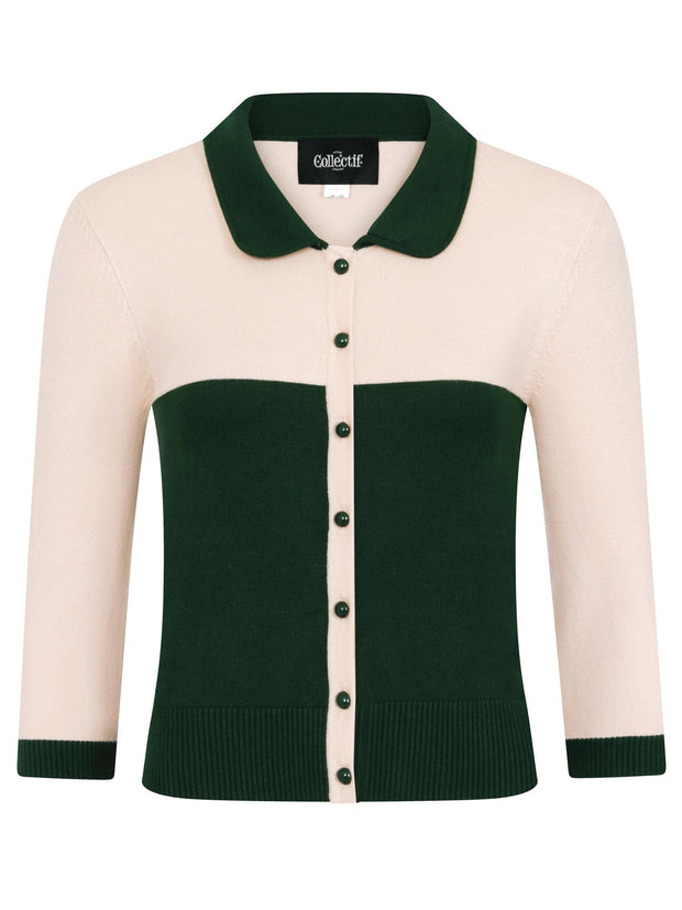 Collectif 50s Style Sandy-Jane Green Bowling Cardigan