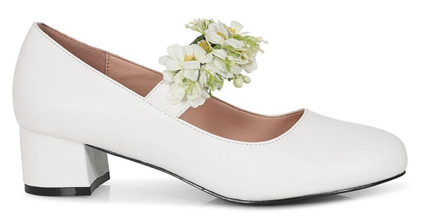 Collectif Lulu Hun Malia White Floral Block Heeled Shoes