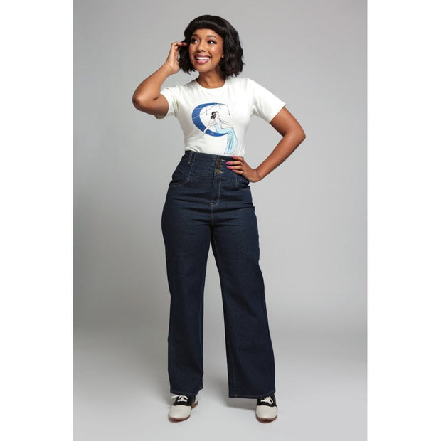 Collectif 40s Style Rebel Kate Navy Wide Leg Jeans *