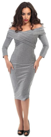 Collectif 40s 50s Style Hollie Silver Lurex Evening Party Pencil Dress - Cherry Red Vintage