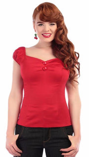 Collectif Dolores 1950s Vintage Style Red Gypsy Top - Cherry Red Vintage