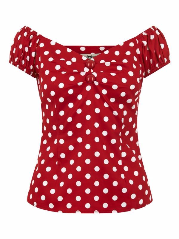 Collectif Dolores 50s Vintage Style Red and White Polka Dot Gypsy Top - Cherry Red Vintage